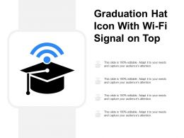 Graduation Hat Icon With Wifi Signal On Top