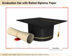 Graduation Hat With Rolled Diploma Paper