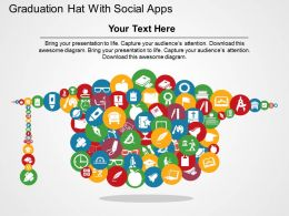 Graduation Hat With Social Apps Flat Powerpoint Design