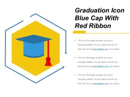 Graduation Icon Blue Cap With Red Ribbon