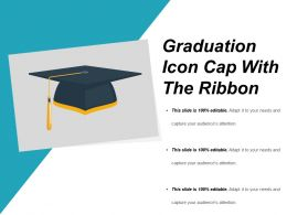 Graduation Icon Cap With The Ribbon