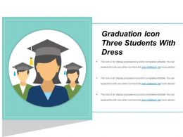 Graduation Icon Three Students With Dress