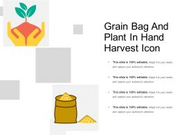 Grain Bag And Plant In Hand Harvest Icon