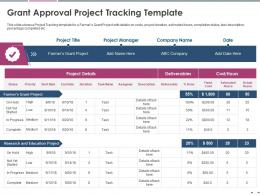 Grant Approval Project Tracking Template Pitch Deck Raise Grant Funds Public Corporations Ppt Grid