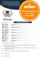 Grant Proposal One Page Application Presentation Report Infographic PPT PDF Document