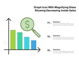 Graph Icon With Magnifying Glass Showing Decreasing Inside Sales