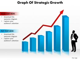 graph of strategic growth arrows pointing upwards man standing powerpoint diagram templates graphics 712