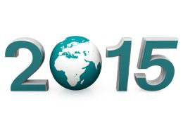 Graphic Of 2015 With 3D Globe In Between For Global Business Stock Photo