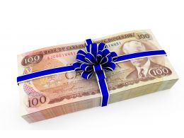 Graphic Of Cash Gift Stock Photo