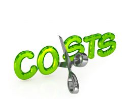 Graphic Of Costs With Scissor On White Background Stock Photo