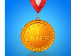 Graphic Of Gold Medal With Number One Position Stock Photo