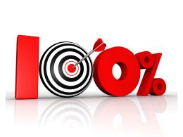 Graphic Of Hundred Percent With Dart And Arrow Stock Photo