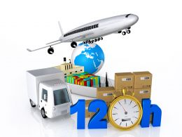 Graphic Of Plane Van With Globe And Cartons To Show Global Shipping Stock Photo