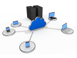 Graphic Of Server Mobile Computers With Cloud In Network Stock Photo