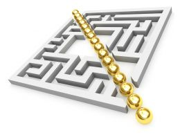 Graphic Of Square Maze With Golden Line In Middle Stock Photo