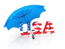 Graphic Of Usa Under The Umbrella With American Flag Design Stock Photo