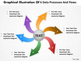 graphical illustration of 6 data processes and flows Circular Network PowerPoint templates