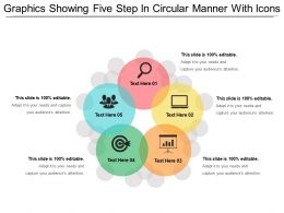 Graphics Showing Five Step In Circular Manner With Icons