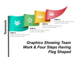 Graphics Showing Team Work And Four Steps Having Flag Shaped