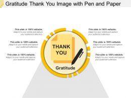 Gratitude Thank You Image With Pen And Paper