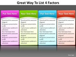 great way to list 4 factors editable powerpoint 6