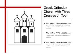 Greek Orthodox Church With Three Crosses On Top