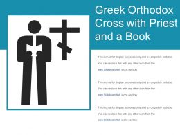 Greek Orthodox Cross With Priest And A Book