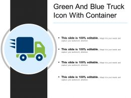 Green And Blue Truck Icon With Container