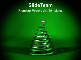 Green And Silver Christmas Ornament PowerPoint Templates PPT Backgrounds For Slides 1113