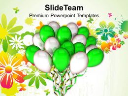 Green And White Balloons Entertainment Powerpoint Templates Ppt Themes And Graphics 0213