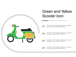Green And Yellow Scooter Icon