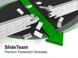 Green Arrow Breaking Wall Target Completion Powerpoint Templates Ppt Themes And Graphics 0113