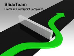 Green Arrow Crossing Barrier Competition Powerpoint Templates PPT Themes And Graphics 0213