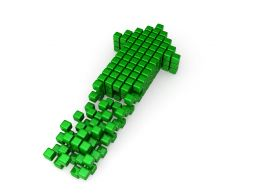 Green Arrow Designed With Multiple Cubes Stock Photo