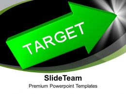 Green Arrow With Target Aim Goal Powerpoint Templates PPT Themes And Graphics 0213