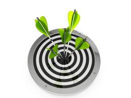 Green Arrows Hit On Center Of Target Board Stock Photo