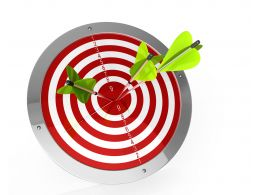 Green Arrows Hitting On Center Of Red Target Board Stock Photo