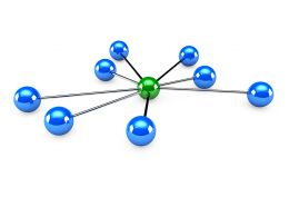 Green Ball Connected To So Many Blue Balls Show Network Stock Photo