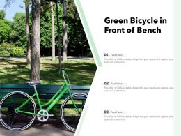 Green Bicycle In Front Of Bench