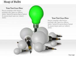 Green Bulb Standing As Leader In White Bulbs