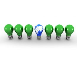 Green Bulbs With One Globe Head Bulb Showing Leadership Stock Photo