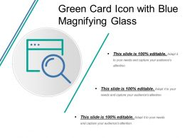 Green Card Icon With Blue Magnifying Glass