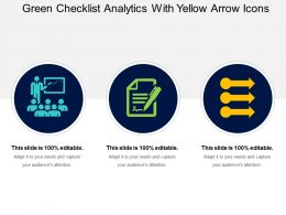 Green Checklist Analytics With Yellow Arrow Icons