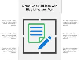 Green Checklist Icon With Blue Lines And Pen