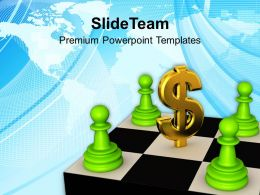 green_chess_pawns_around_dollar_sign_strategy_business_templates_ppt_themes_and_graphics_0113_Slide01