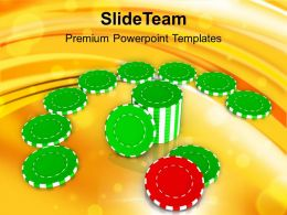 Green Chips For Poker On Playing Table Powerpoint Templates Ppt Backgrounds For Slides 0213