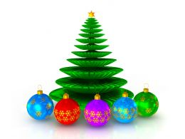 Green Christmas Tree With Colored Balls Stock Photo