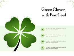 Green Clover With Four Leaf