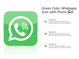 Green Color Whatsapp Icon With Phone Call
