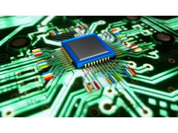 Green Colored Circuit Design Stock Photo
